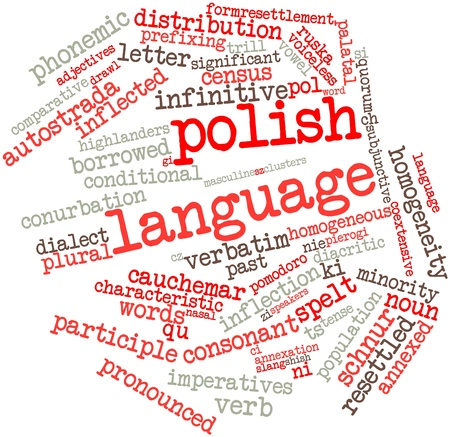 spelt: Abstract word cloud for Polish language with related tags and terms Stock Photo
