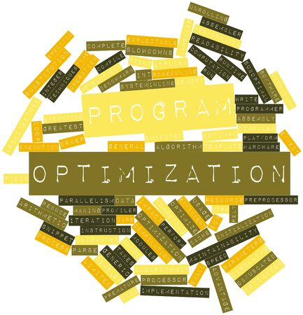 optimal: Abstract word cloud for Program optimization with related tags and terms