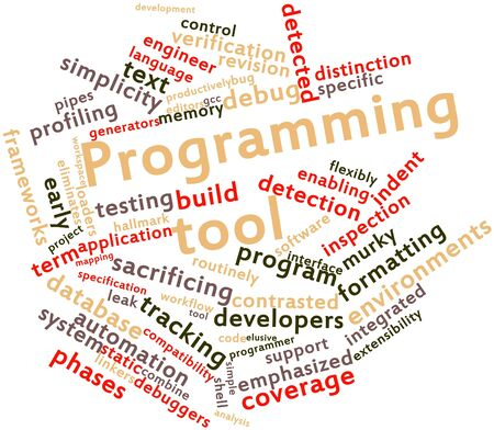 Abstract word cloud for Programming tool with related tags and terms Stock Photo - 16413985