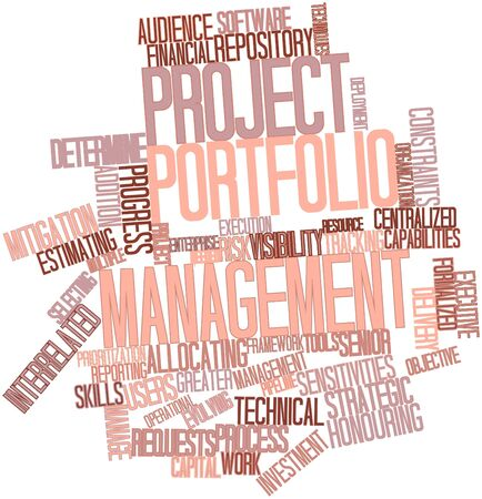 portfolios: Abstract word cloud for Project portfolio management with related tags and terms
