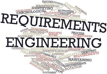 inception: Abstract word cloud for Requirements engineering with related tags and terms Stock Photo