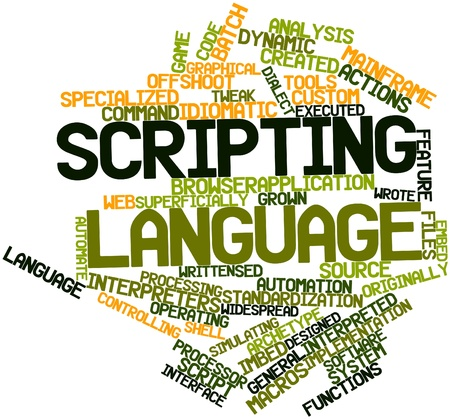 scripting: Abstract word cloud for Scripting language with related tags and terms