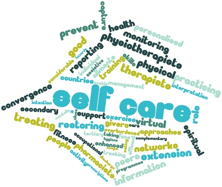 care providers: Abstract word cloud for Self care with related tags and terms
