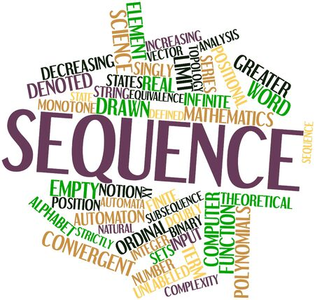 Abstract word cloud for Sequence with related tags and terms Stock Photo - 16414398