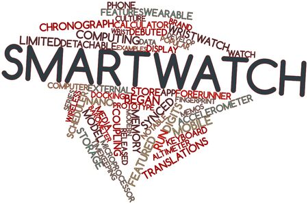 chronograph: Abstract word cloud for Smartwatch with related tags and terms Stock Photo