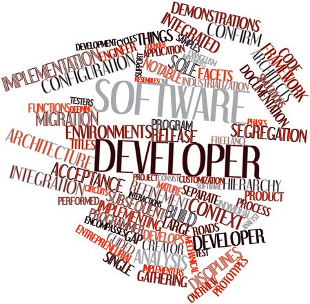 functions: Abstract word cloud for Software developer with related tags and terms