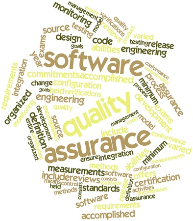 Abstract word cloud for Software quality assurance with related tags and terms
