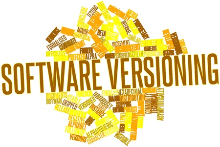 Abstract word cloud for Software versioning with related tags and terms