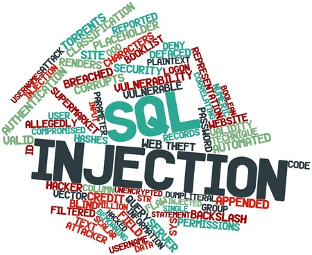 voter: Abstract word cloud for SQL injection with related tags and terms Stock Photo