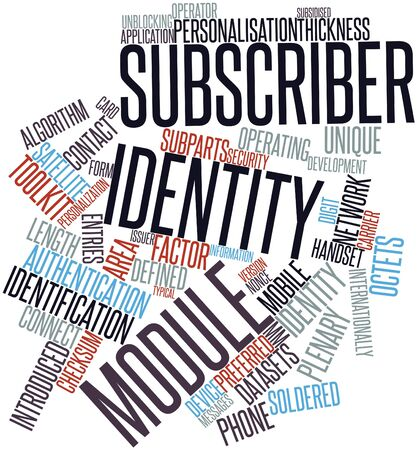 issuer: Abstract word cloud for Subscriber identity module with related tags and terms