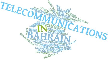 awarded: Abstract word cloud for Telecommunications in Bahrain with related tags and terms Stock Photo