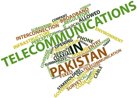 neighboring: Abstract word cloud for Telecommunications in Pakistan with related tags and terms Stock Photo