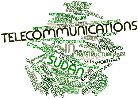 emphasized: Abstract word cloud for Telecommunications in Sudan with related tags and terms