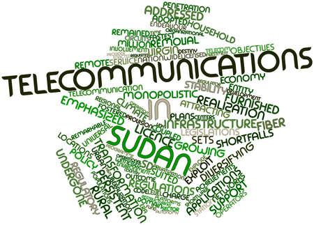 explocion: Nube de palabras Resumen de Telecomunicaciones de Sudán con las etiquetas y términos relacionados Foto de archivo