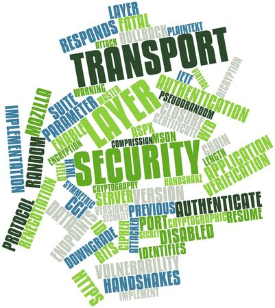 Abstract word cloud for Transport Layer Security with related tags and terms photo