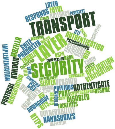 manos estrechadas: Nube palabra abstracta para la Seguridad del nivel de transporte con las etiquetas y términos relacionados