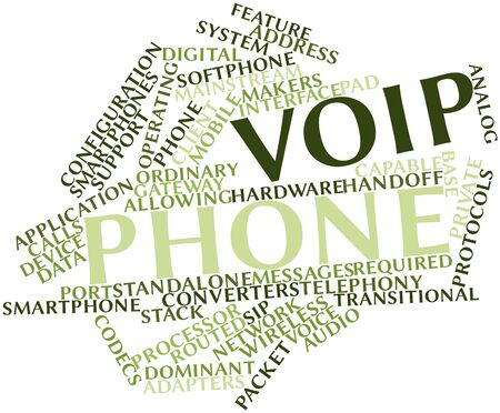 voip: Abstract word cloud for VoIP phone with related tags and terms