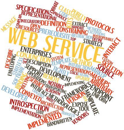 arbitrario: Nube palabra abstracta para el servicio Web con etiquetas y términos relacionados