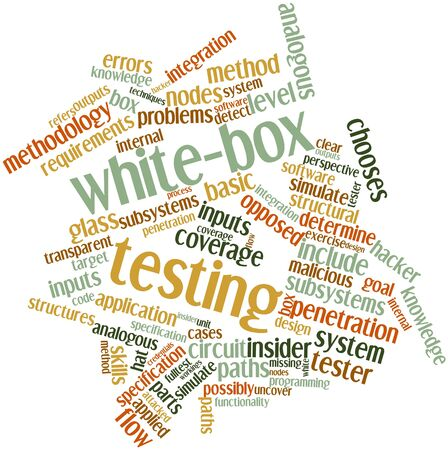 workings: Abstract word cloud for White-box testing with related tags and terms Stock Photo