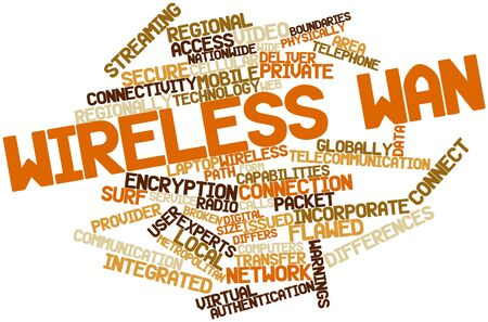wan: Abstract word cloud for Wireless WAN with related tags and terms Stock Photo