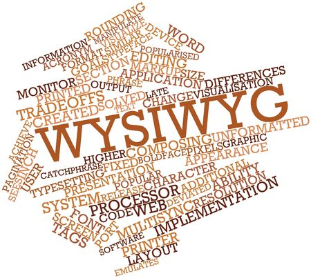 realism: Abstract word cloud for WYSIWYG with related tags and terms Stock Photo