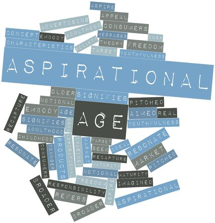 signifies: Abstract word cloud for Aspirational age with related tags and terms