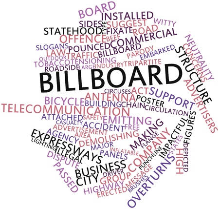 Abstract word cloud for Billboard with related tags and terms Imagens