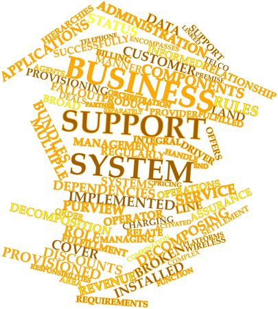 Abstract word cloud for Business support system with related tags and terms