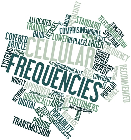 comprising: Abstract word cloud for Cellular frequencies with related tags and terms Stock Photo