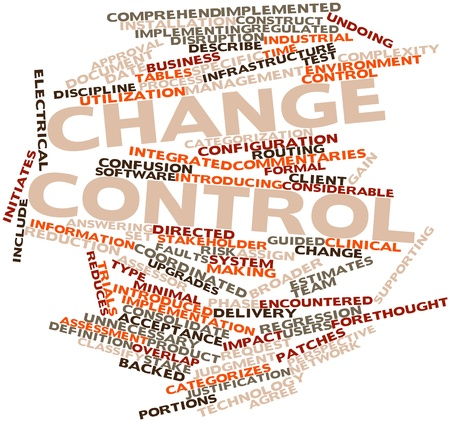 Abstract word cloud for Change control with related tags and terms