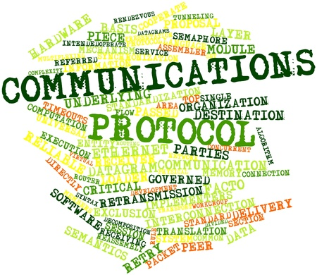 facto: Abstract word cloud for Communications protocol with related tags and terms
