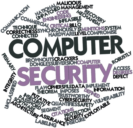 flaw: Abstract word cloud for Computer security with related tags and terms
