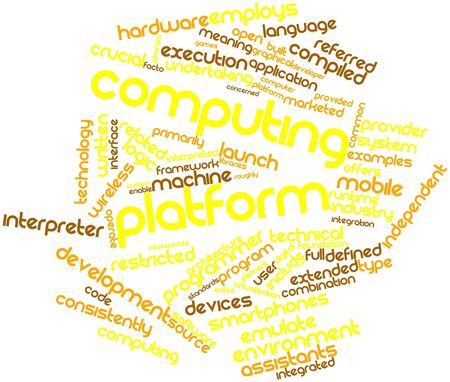 Abstract word cloud for Computing platform with related tags and terms Stock Photo - 16413850