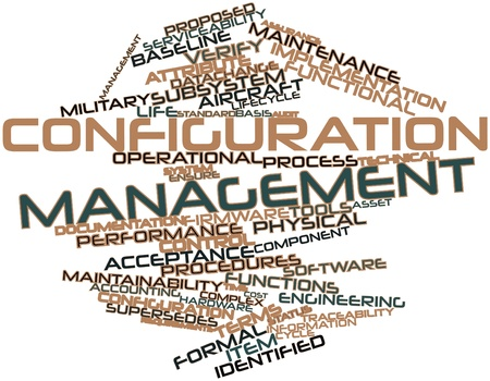 construction management: Abstract word cloud for Configuration management with related tags and terms