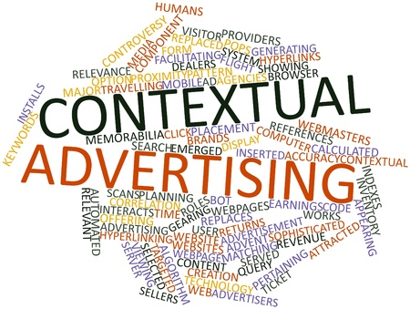 automatically: Abstract word cloud for Contextual advertising with related tags and terms Stock Photo