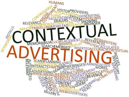 contextual: Nube palabra abstracta para la publicidad contextual con las etiquetas y t�rminos relacionados Foto de archivo