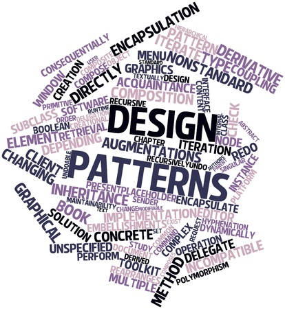 maintainability: Abstract word cloud for Design Patterns with related tags and terms