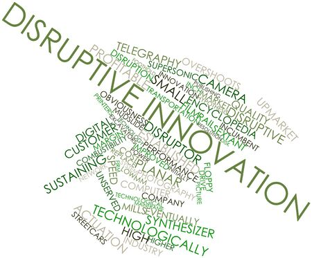 upmarket: Abstract word cloud for Disruptive innovation with related tags and terms