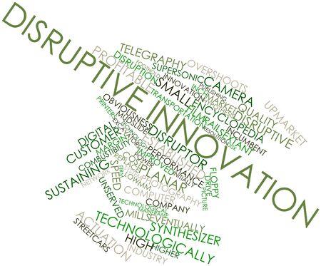 eventually: Word cloud astratto per l'innovazione dirompente con tag correlati e termini