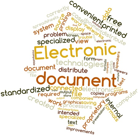 Abstract word cloud for Electronic document with related tags and terms Stock Photo - 16413946