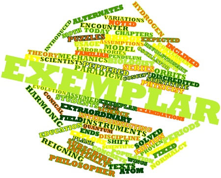 exemplar: Abstract word cloud for Exemplar with related tags and terms Stock Photo