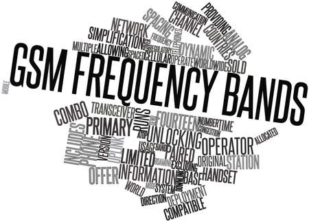 gsm: Abstract word cloud for GSM frequency bands with related tags and terms Stock Photo