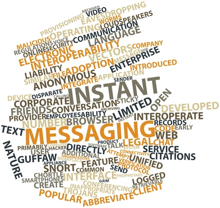 instant messaging: Abstract word cloud for Instant messaging with related tags and terms