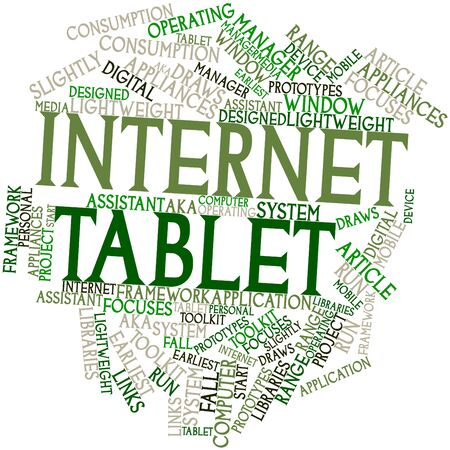 prototypes: Abstract word cloud for Internet tablet with related tags and terms