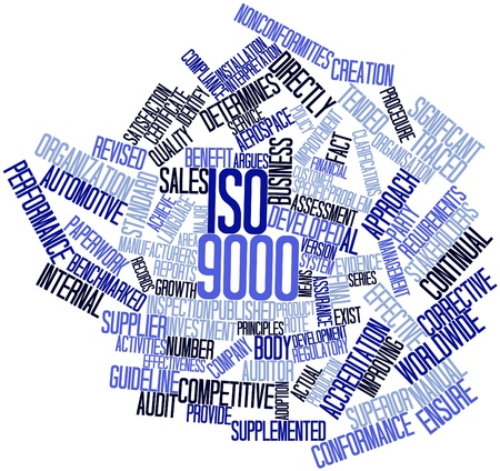Abstract word cloud for ISO 9000 with related tags and terms photo