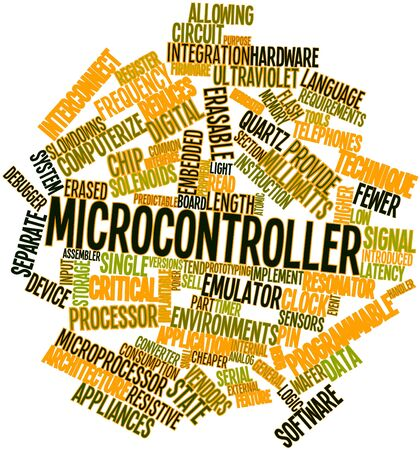 prototyping: Abstract word cloud for Microcontroller with related tags and terms