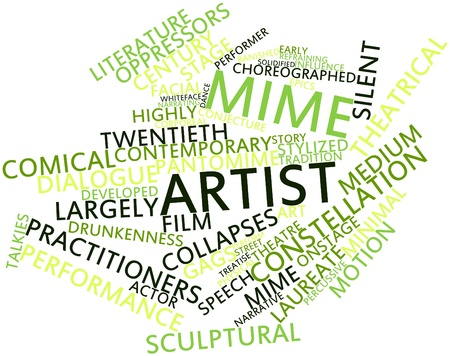 observers: Abstract word cloud for Mime artist with related tags and terms Stock Photo