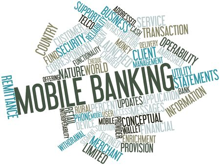Abstract word cloud for Mobile banking with related tags and terms photo
