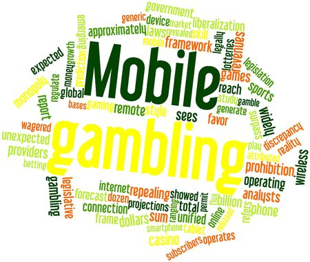 widely: Abstract word cloud for Mobile gambling with related tags and terms