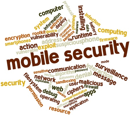vulnerable: Abstract word cloud for Mobile security with related tags and terms Stock Photo